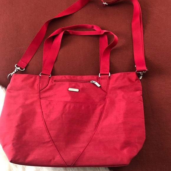 Baggallini red crossbody tote travel nylon bag
